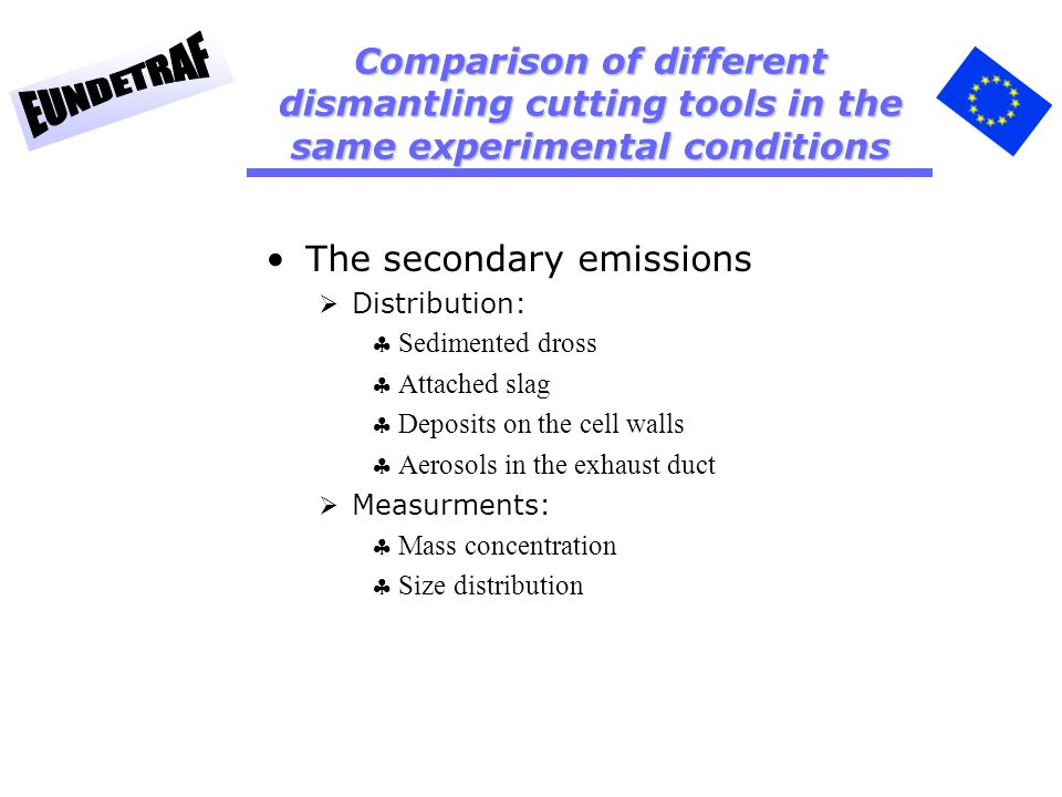 The secondary emissions Distribution: Sedimented dross Attached slag Deposits on the cell walls Aerosols in the exhaust duct Measurments: Mass concentration Size distribution Comparison of different dismantling cutting tools in the same experimental conditions