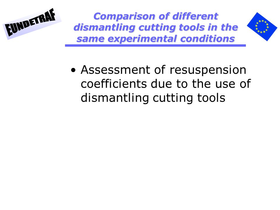 Assessment of resuspension coefficients due to the use of dismantling cutting tools Comparison of different dismantling cutting tools in the same experimental conditions