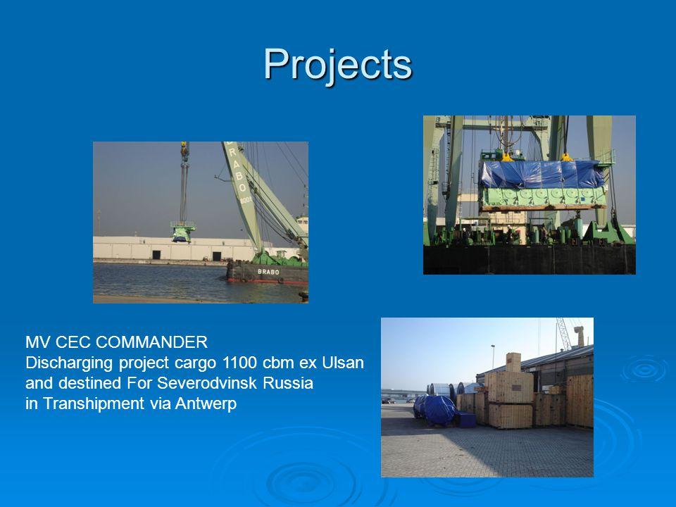Projects MV CEC COMMANDER Discharging project cargo 1100 cbm ex Ulsan and destined For Severodvinsk Russia in Transhipment via Antwerp