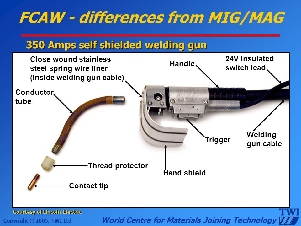 Copyright © 2005, TWI Ltd World Centre for Materials Joining Technology FCAW - differences from MIG/MAG 350 Amps self shielded welding gun Courtesy of