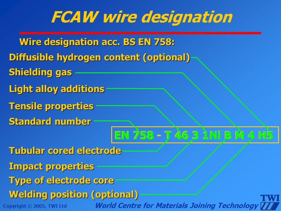Copyright © 2005, TWI Ltd World Centre for Materials Joining Technology FCAW wire designation Wire designation acc. BS EN 758: Standard number Tubular