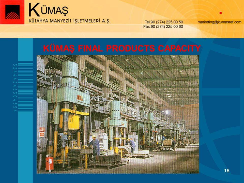 16 KÜMAŞ FINAL PRODUCTS CAPACITY