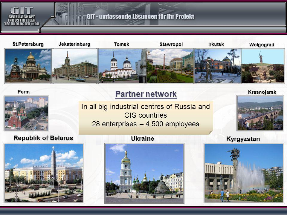 In all big industrial centres of Russia and CIS countries 28 enterprises – 4.500 employees Republik of Belarus Ukraine Kyrgyzstan St.Petersburg Wolgograd Krasnojarsk Irkutsk Perm Stawropol Jekaterinburg Tomsk Partner network