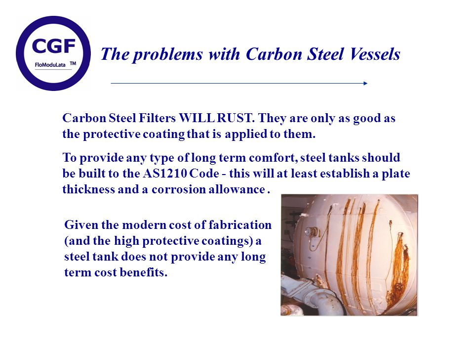 The problems with Carbon Steel Vessels Carbon Steel Filters WILL RUST.