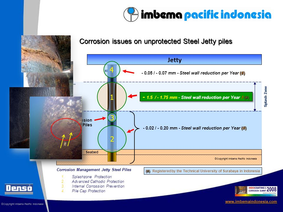 © Copyright Imbema Pacific Indonesia www.imbemaindonesia.com Corrosion Management for Steel Jetty Piles 7 year old Jetty steel piles Steel Jetty Piles Steel Jetty Piles after installation SeaShield System