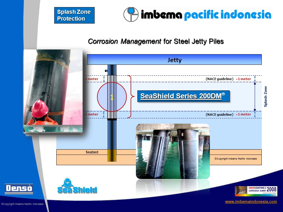 Sea Level HWL Seabed LWL Corrosion Management for Steel Jetty Piles © Copyright Imbema Pacific Indonesia www.imbemaindonesia.com Splash Zone Protection + 1 meter SeaShield Series 200DM SeaShield Series 200DM ® (NACE guideline) 1 Splash Zone Jetty © Copyright Imbema Pacific Indonesia