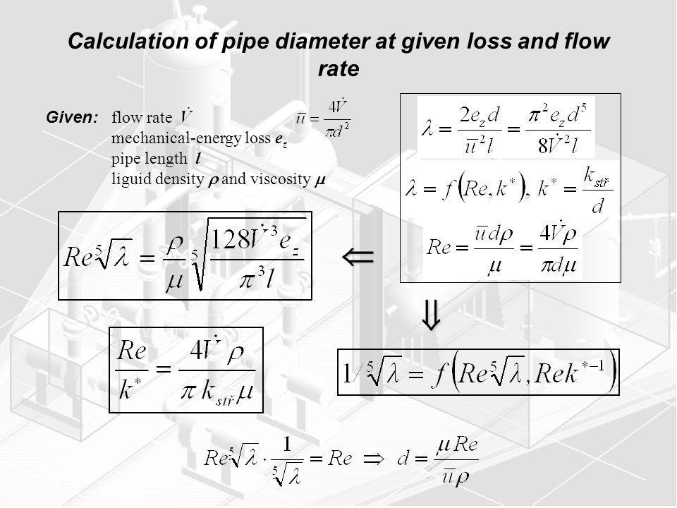 Calculation of pipe diameter at given loss and flow rate Given: flow rate mechanical-energy loss e z pipe length l liguid density and viscosity