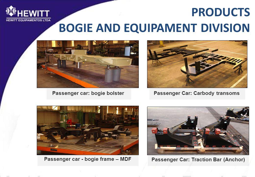 PRODUCTS BOGIE AND EQUIPAMENT DIVISION Passenger Car: Carbody transomsPassenger car: bogie bolster Passenger car - bogie frame – MDF Passenger Car: Traction Bar (Anchor)