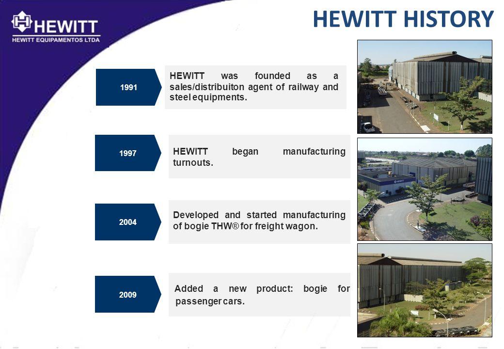 HEWITT HISTORY HEWITT began manufacturing turnouts.