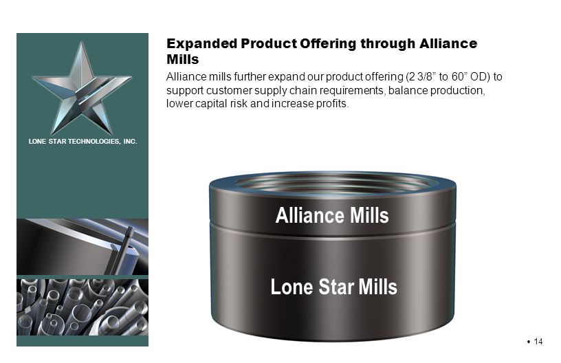 LONE STAR TECHNOLOGIES, INC. 14 Expanded Product Offering through Alliance Mills Alliance mills further expand our product offering (2 3/8 to 60 OD) t