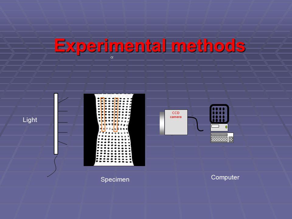 Experimental methods CCD camera Computer Specimen Light 1 2 3 4 5 6 7 8 9