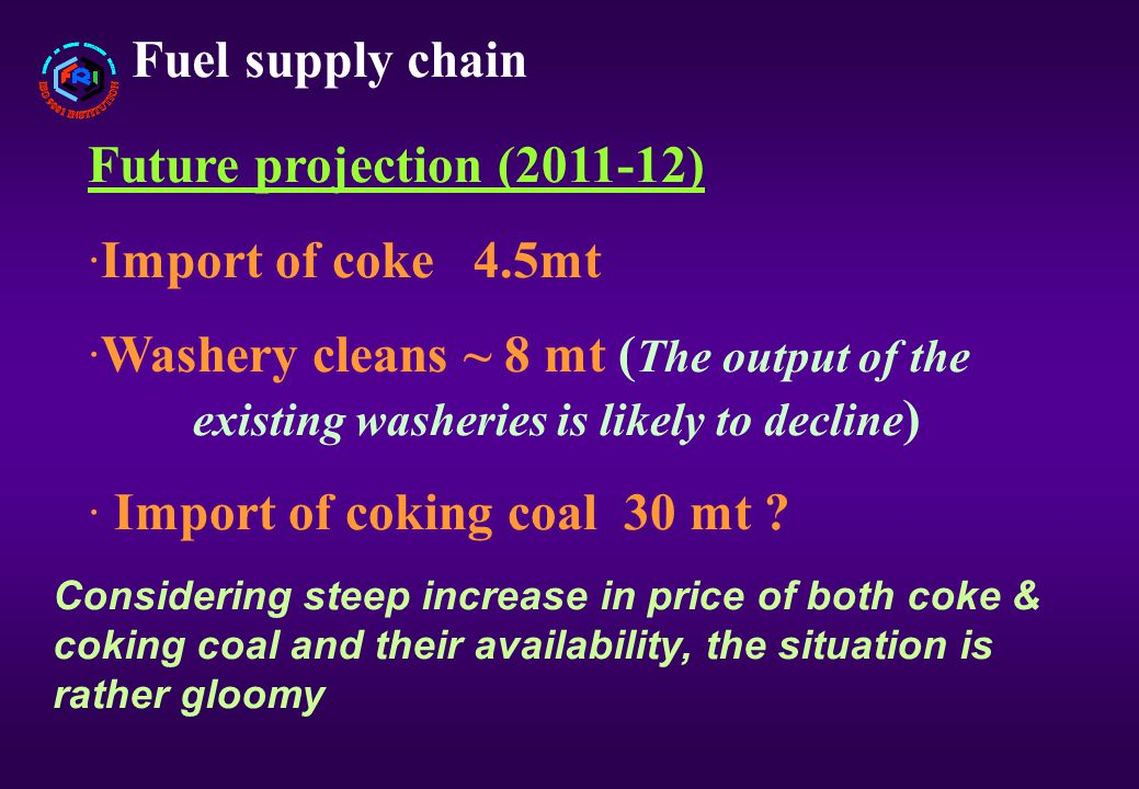 Fuel supply chain Future projection (2011-12) ·Import of coke 4.5mt ·Washery cleans ~ 8 mt ( The output of the existing washeries is likely to decline ) · Import of coking coal 30 mt .