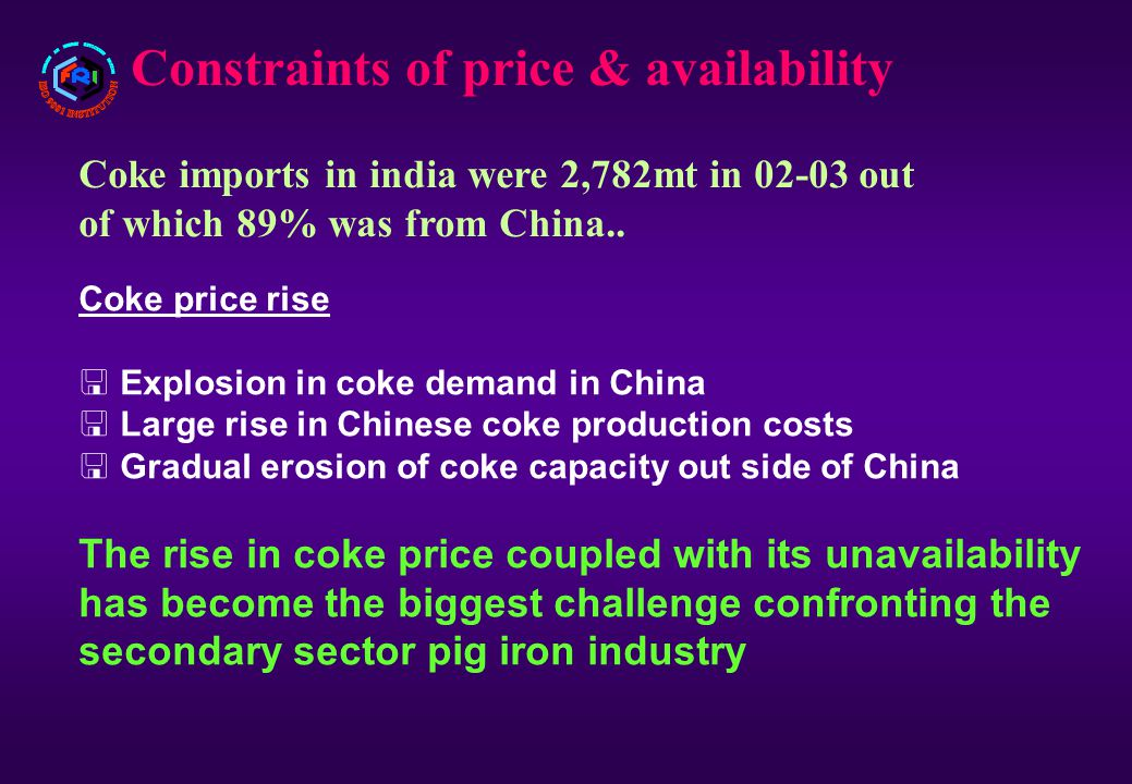 Constraints of price & availability Coke imports in india were 2,782mt in 02-03 out of which 89% was from China..