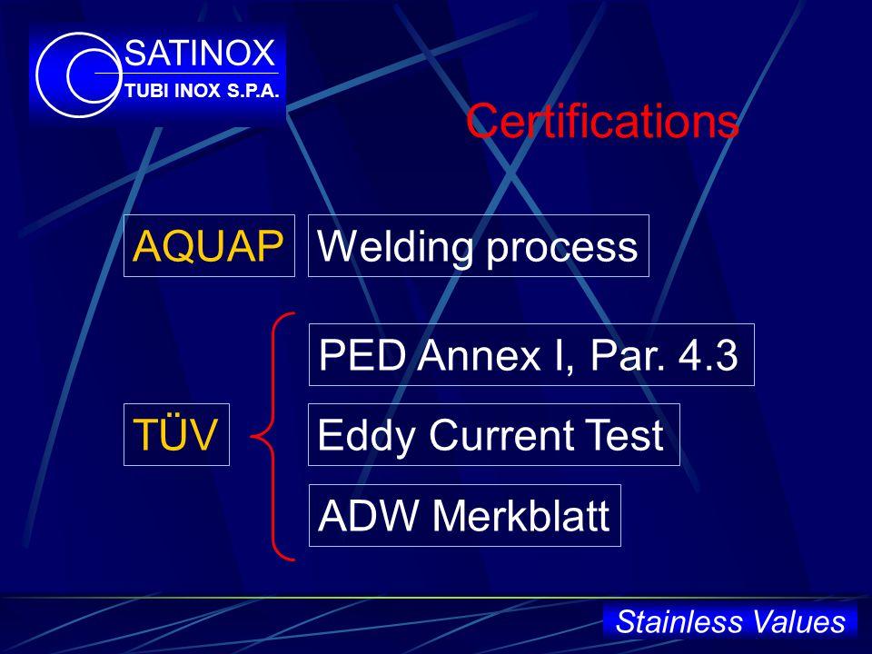 Certifications Welding process Eddy Current Test ADW Merkblatt PED Annex I, Par.
