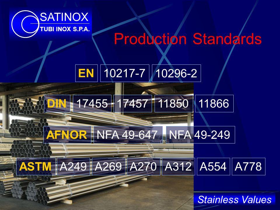 17455 Production Standards 10217-7EN DIN174571185011866 AFNORNFA 49-249NFA 49-647 ASTMA249A269A312A554A270A778 10296-2 SATINOX TUBI INOX S.P.A.