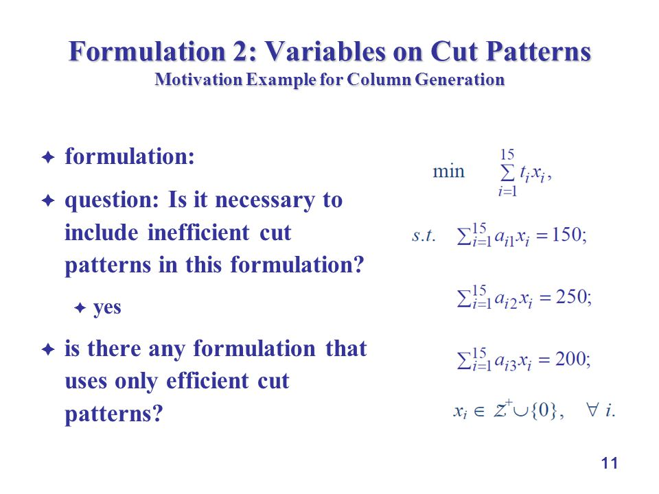 11 Formulation 2: Variables on Cut Patterns Motivation Example for Column Generation formulation: question: Is it necessary to include inefficient cut patterns in this formulation.