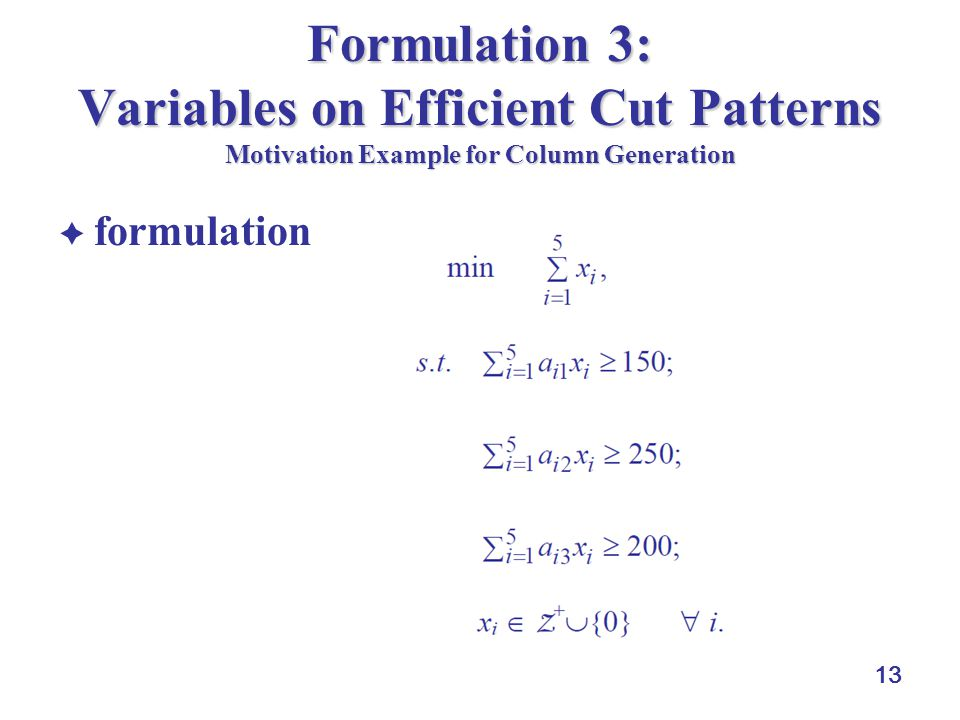 13 Formulation 3: Variables on Efficient Cut Patterns Motivation Example for Column Generation formulation