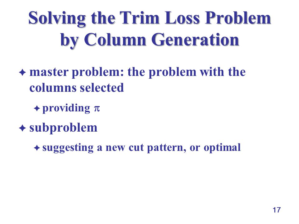 17 Solving the Trim Loss Problem by Column Generation master problem: the problem with the columns selected providing subproblem suggesting a new cut