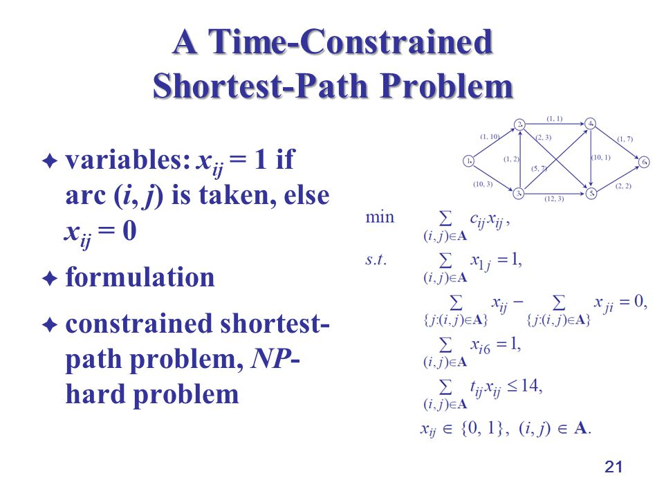 21 A Time-Constrained Shortest-Path Problem variables: x ij = 1 if arc (i, j) is taken, else x ij = 0 formulation constrained shortest- path problem,