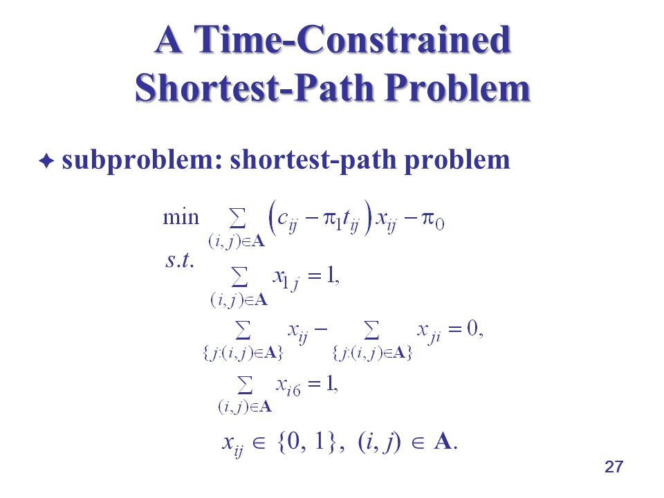 27 A Time-Constrained Shortest-Path Problem subproblem: shortest-path problem x ij {0, 1}, (i, j) A. s.t.s.t.