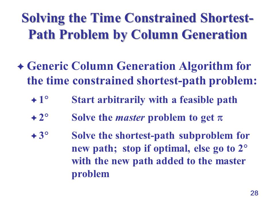 28 Solving the Time Constrained Shortest- Path Problem by Column Generation Generic Column Generation Algorithm for the time constrained shortest-path