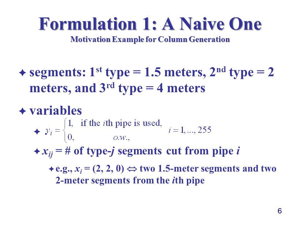 7 Formulation 1: A Naive One Motivation Example for Column Generation formulation