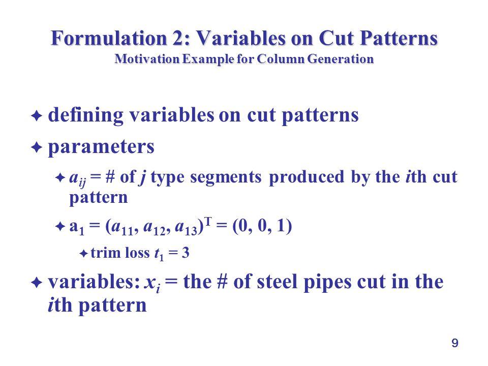 10 Formulation 2: Variables on Cut Patterns Motivation Example for Column Generation cut patterns