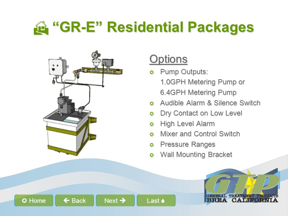 Last Home BackNext GR-E Model Numbers GR-E Model Numbers Model Number: GR07- E1-3/HM-AL GR = Base model Residential glycol feed package, tank, hinged lid, control box, 0.5 GPH metering pump, pressure switch, low level switch and indicator, suction and discharge manifold.