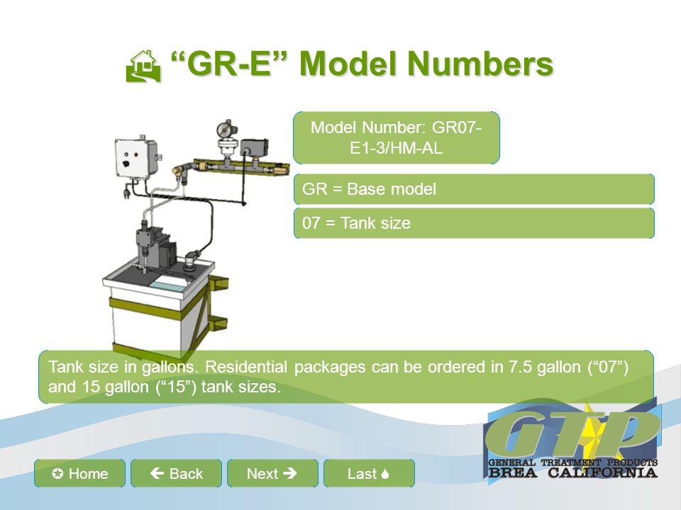 Last Home BackNext GR-E Model Numbers GR-E Model Numbers GR = Base model 07 = Tank size -E1 = Standard package -E1 is the base package which includes standard pump, control panel and manifolds.