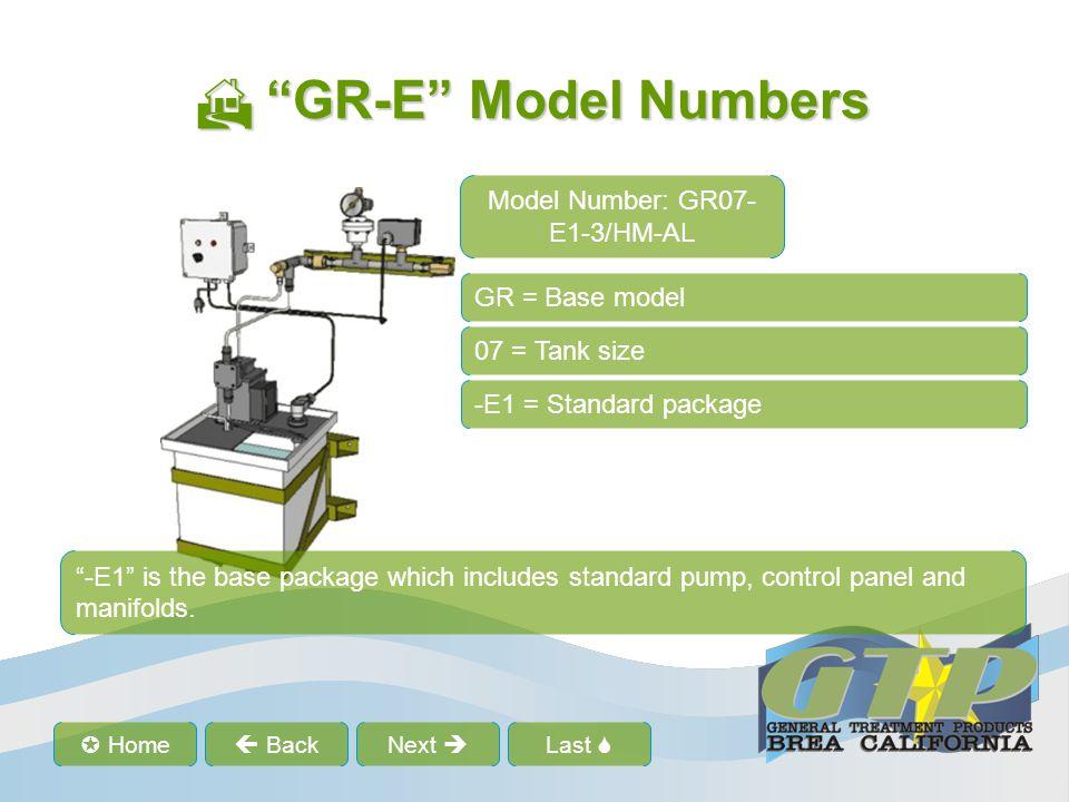 Last Home BackNext GR-E Model Numbers GR-E Model Numbers GR = Base model 07 = Tank size -E1 = Standard package -3 = Pressure code -3 pressure code sets the pressure switch, pressure relief valve and pressure gauge.