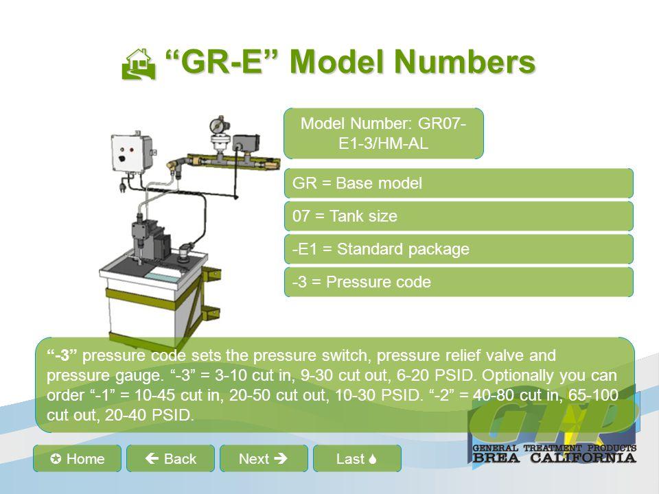 Last Home BackNext GR-E Model Numbers GR-E Model Numbers GR = Base model 07 = Tank size E1 = Standard package -3 = Pressure code /HM-AL = Optional features /HM-AL Optional codes.