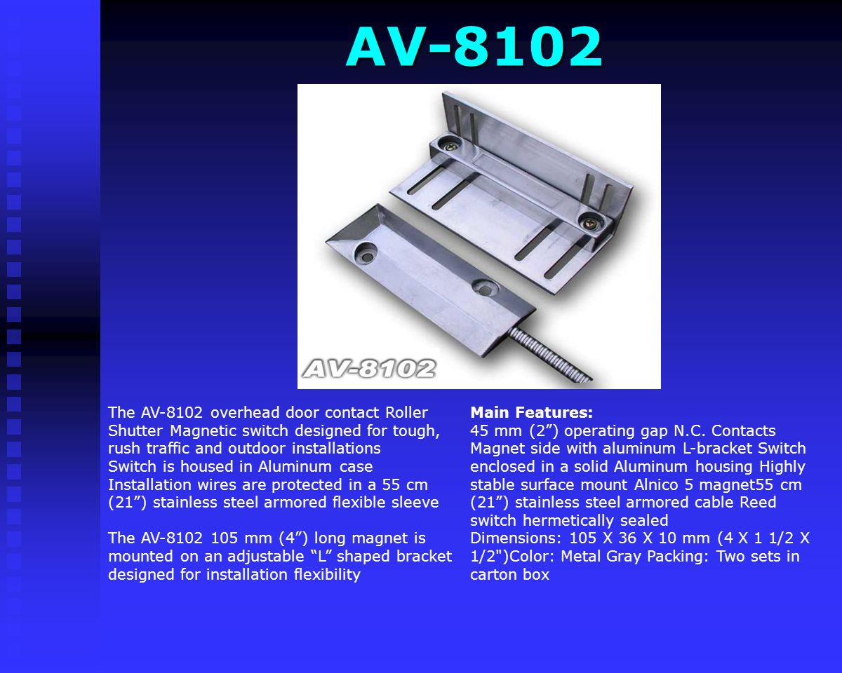 AVG-09 SMS Center AVG-09 SMS Center Features programmed by sending SMS Dual Band 900/1800 MHz GSM module SIM card socket Dimensions: 193 x 149 x 46 mm GSM module for SMS reporting and controlling Dual Band 900/1800 MHz Eight inputs and outputs Each input activation sends SMS to any number of mobile phone users Remote activation of each output (Relay dry contacts) LCD display shows unit status Master on/off switch Pluggable wires terminal for fast and simple service Internal, rechargeable back up and real time clock battery