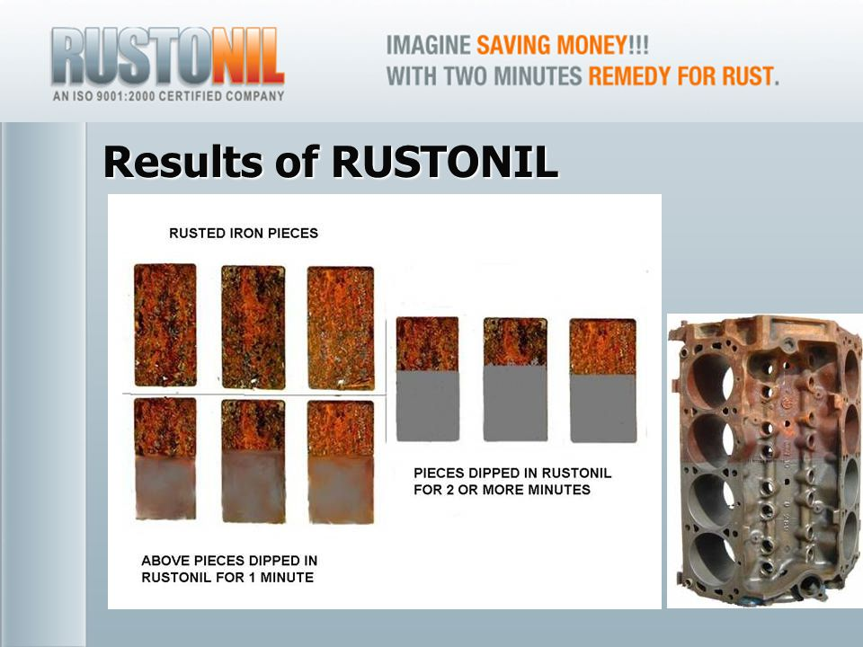 www.rustonil.co.in For any query, please contact at: info@rustonil.co.in 8 Results of RUSTONIL