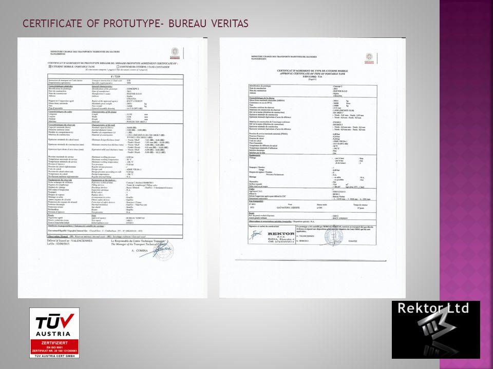 CERTIFICATE OF PROTUTYPE- BUREAU VERITAS