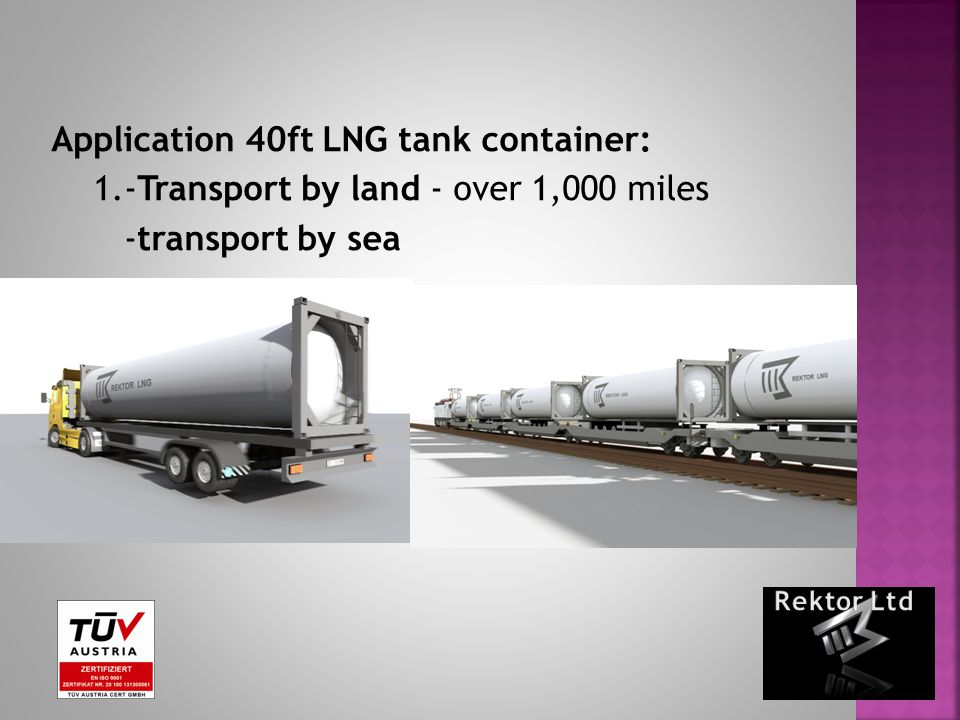 Application 40ft LNG tank container: 1.-Transport by land - over 1,000 miles -transport by sea