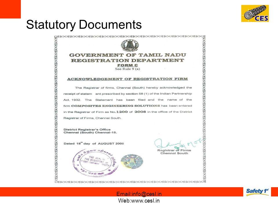 Statutory Documents Email:info@cesl.in Web:www.cesl.in