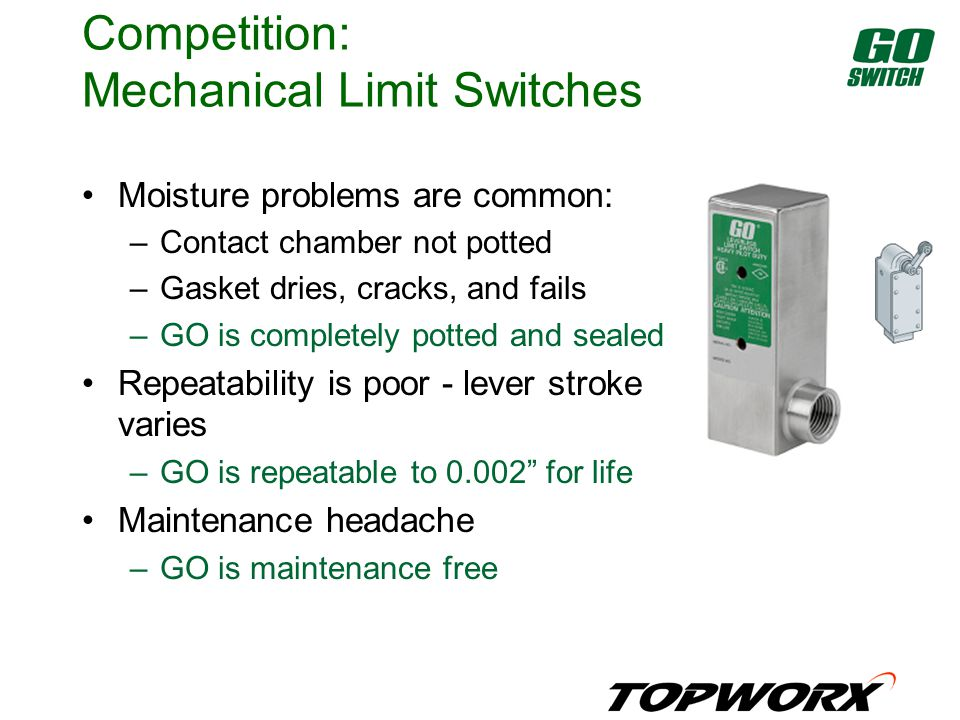 Competition: Mechanical Limit Switches Moisture problems are common: –Contact chamber not potted –Gasket dries, cracks, and fails –GO is completely potted and sealed Repeatability is poor - lever stroke varies –GO is repeatable to 0.002 for life Maintenance headache –GO is maintenance free