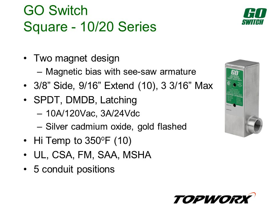 GO Switch Square - 10/20 Series Two magnet design –Magnetic bias with see-saw armature 3/8 Side, 9/16 Extend (10), 3 3/16 Max SPDT, DMDB, Latching –10A/120Vac, 3A/24Vdc –Silver cadmium oxide, gold flashed Hi Temp to 350 o F (10) UL, CSA, FM, SAA, MSHA 5 conduit positions