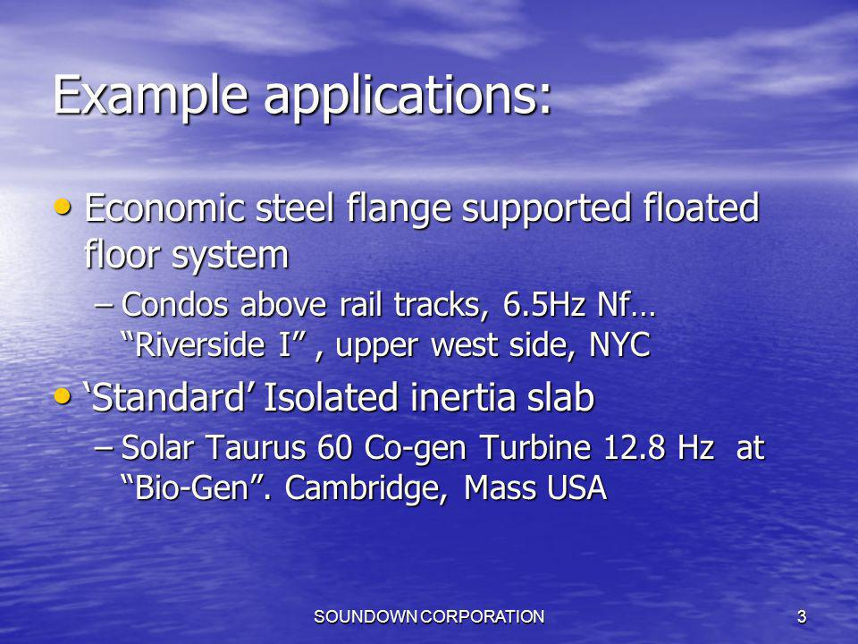 SOUNDOWN CORPORATION3 Example applications: Economic steel flange supported floated floor system Economic steel flange supported floated floor system
