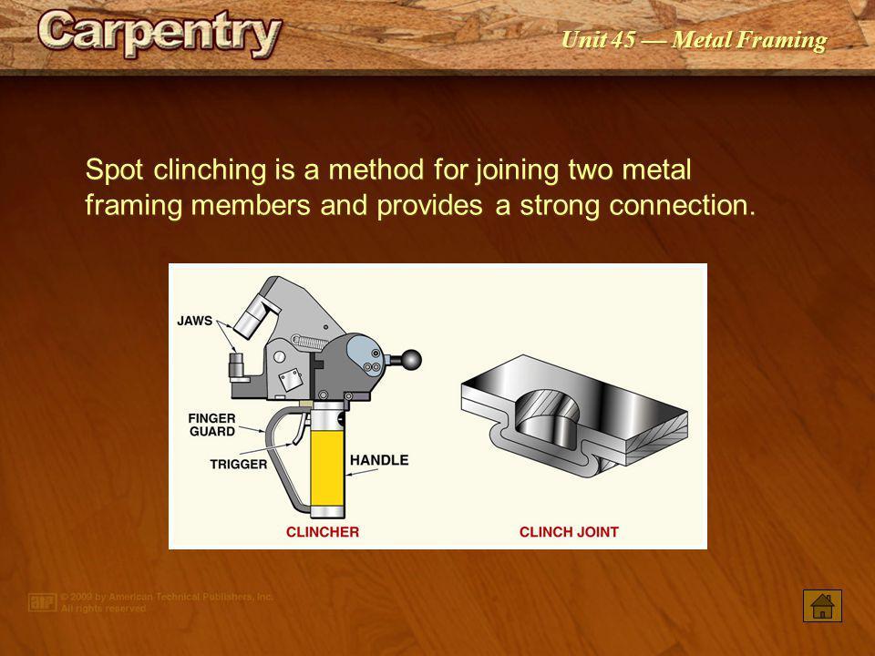 Unit 45 Metal Framing Welding must be performed by a certified welder.