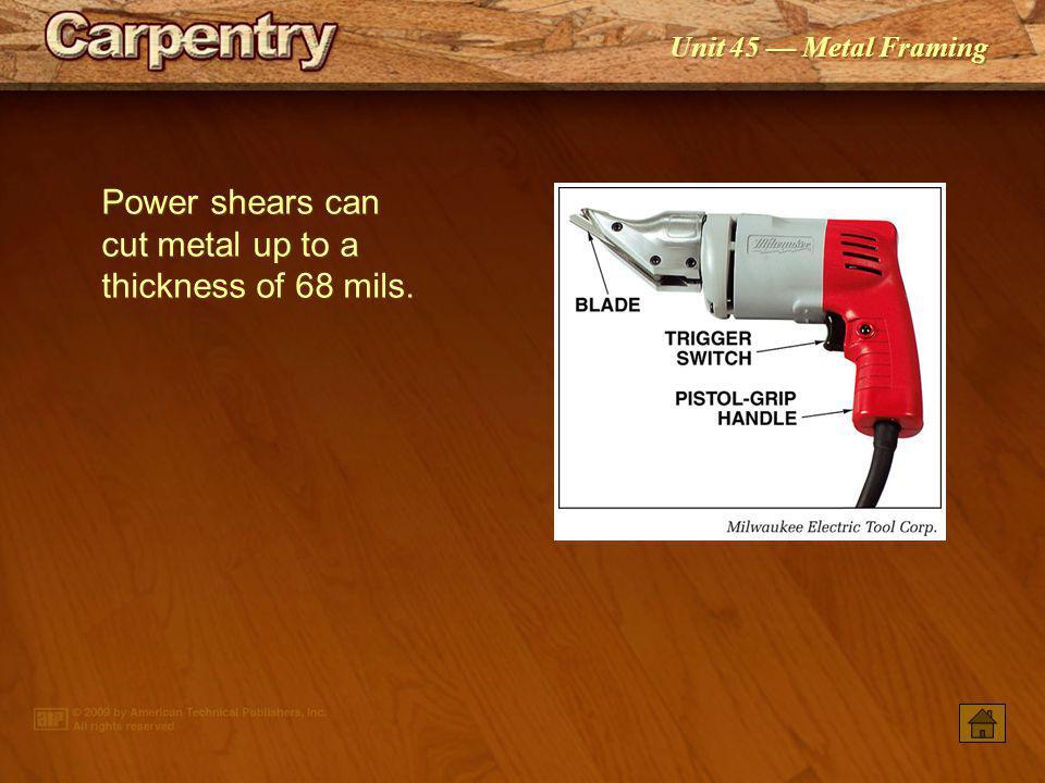Unit 45 Metal Framing An abrasive cutoff saw is used to cut heavy-gauge framing members.