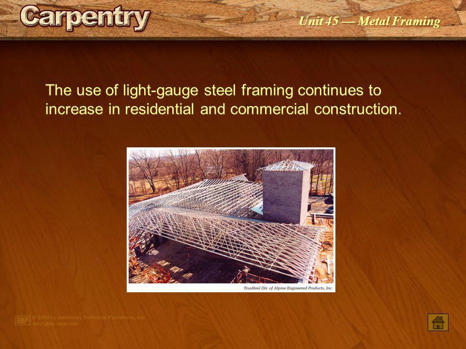 PowerPoint ® Presentation Unit 45 Metal Framing Industry and Code Regulations Light- gauge Steel Framing Members Fasteners Framing Tools Metal Framing