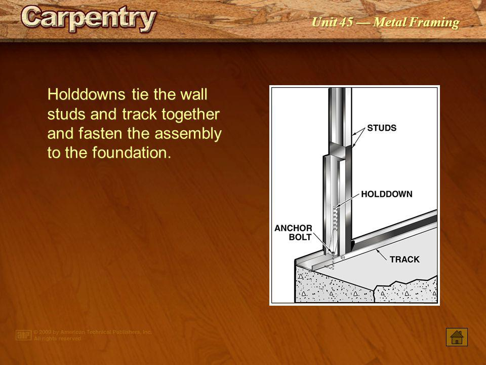 Unit 45 Metal Framing The main components of a metal-framed floor unit are the joists, rim track, cross bridging, and blocking. Ensure framing compone