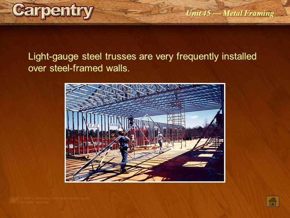 Unit 45 Metal Framing A light-gauge steel roof framework requires considerable bracing.