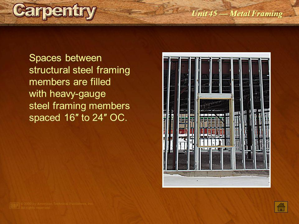 Unit 45 Metal Framing Bolted connections are commonly used for structural steel framing.