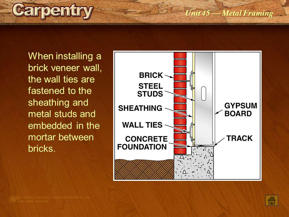Unit 45 Metal Framing Oriented strand board or plywood is typically used as wall sheathing on steel-framed buildings.