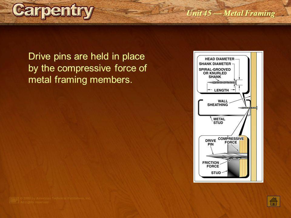 Unit 45 Metal Framing No. 8 screws are used most often as light-gauge steel fasteners.
