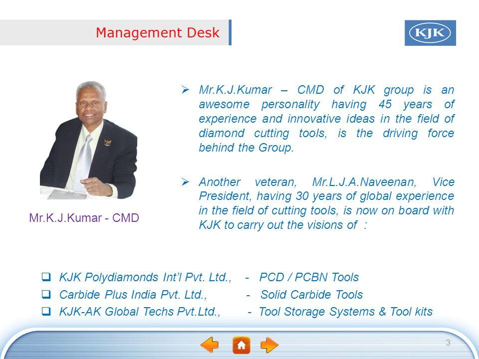 KJK Polydiamonds Intl Pvt. Ltd., - PCD / PCBN Tools Carbide Plus India Pvt. Ltd., - Solid Carbide Tools KJK-AK Global Techs Pvt.Ltd., - Tool Storage S