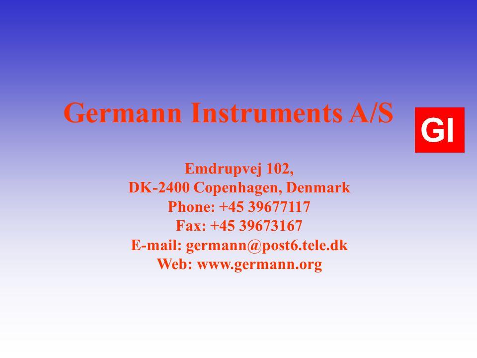 Germann Instruments A/S Emdrupvej 102, DK-2400 Copenhagen, Denmark Phone: +45 39677117 Fax: +45 39673167 E-mail: germann@post6.tele.dk Web: www.germann.org GI