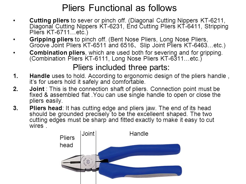 End Cutting Pliers (Woodworking Pliers)6431 End Cutting Pliers are used widely and particularly popular because of their sturdiness.